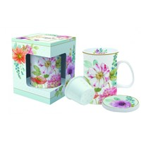 Easy Life Porcelánový hrnek se sítkem na čaj Cottage Flower 300 ml