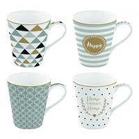 Easy Life Cups & Mugs Coffee Mania Porcelánové hrnky na kávu Happy 4 ks