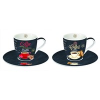 Easy Life Cups & Mugs Coffee Mania Porcelánové šálky a podšálky na kávu It´s Coffee Time 2 x 90 ml