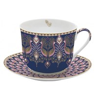 Easy Life Coffee Mania Porcelánový šálek s podšálkem Peacock 400 ml