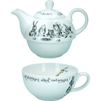Kitchen Craft Alice In Wonderland Porcelánový hrnek s konvičkou 250 ml