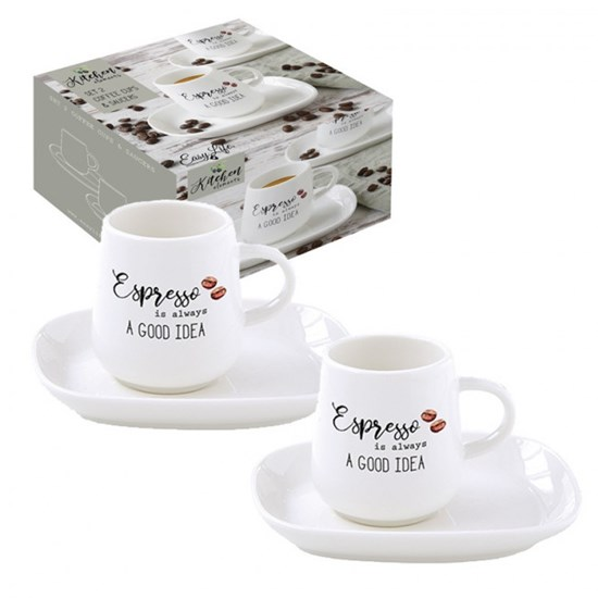 Easy Life Porcelánový hrnek na espresso Kitchen Elements 2 x 100 ml