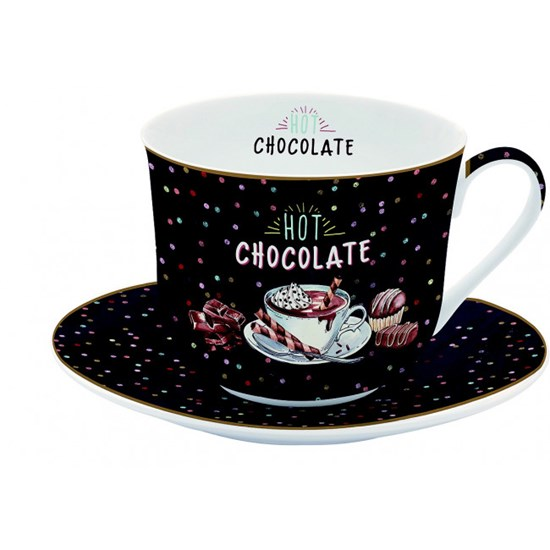 Easy Life Porcelánový hrnek s podšálkem Hot Chocolate 400 ml