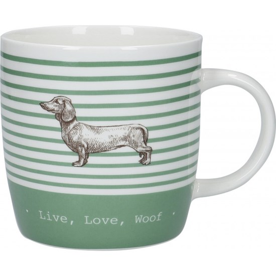 Kitchen Craft Stripe Dog Porcelánový hrníček 425 ml